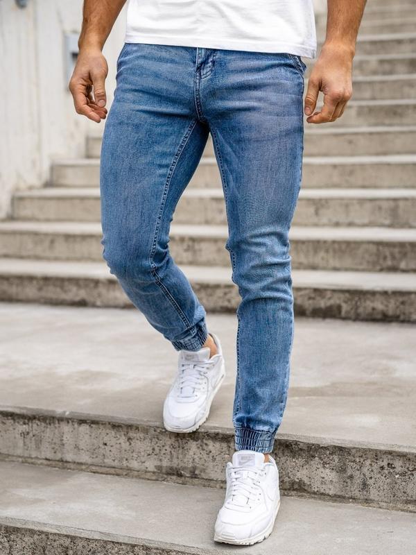 Granatowe spodnie jeansowe joggery męskie Denley KA1626