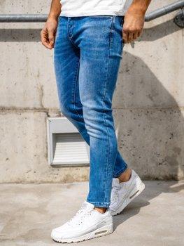 Granatowe spodnie jeansowe męskie skinny fit Denley KX397