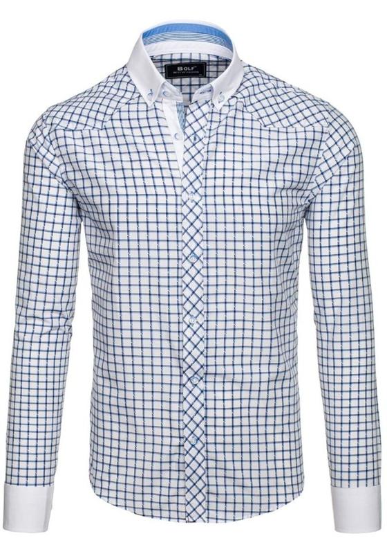 Koszula męska elegancka w kratę z długim rękawem niebieska Bolf 6959