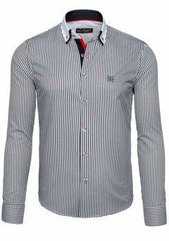 Koszula męska elegancka w paski z długim rękawem biało-czarna Bolf 5758