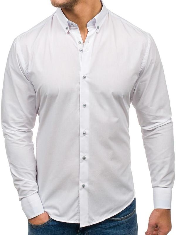 Koszula męska elegancka z długim rękawem biała Bolf 6927
