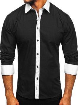 Koszula męska elegancka z długim rękawem czarna Bolf 6882