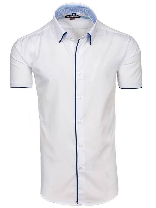 Koszula męska elegancka z krótkim rękawem biała Denley 061