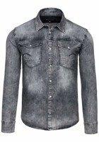 Koszula męska jeansowa z długim rękawem szara Denley 4419