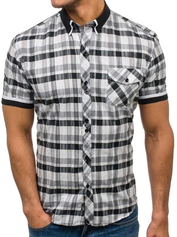 Koszula męska w kratę z krótkim rękawem czarno-biała Denley 5202