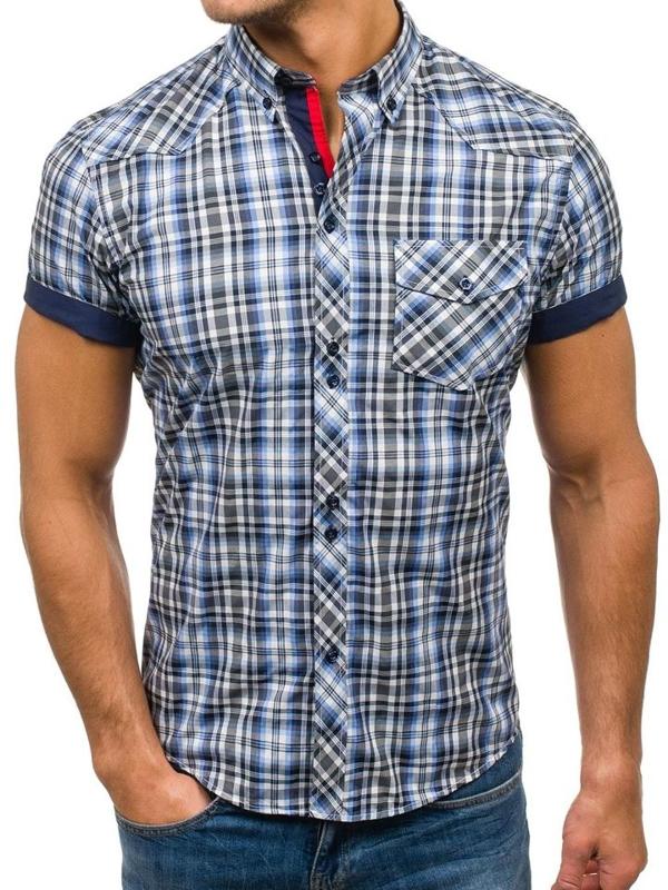 Koszula męska w kratę z krótkim rękawem czarno-niebieska Denley 5206