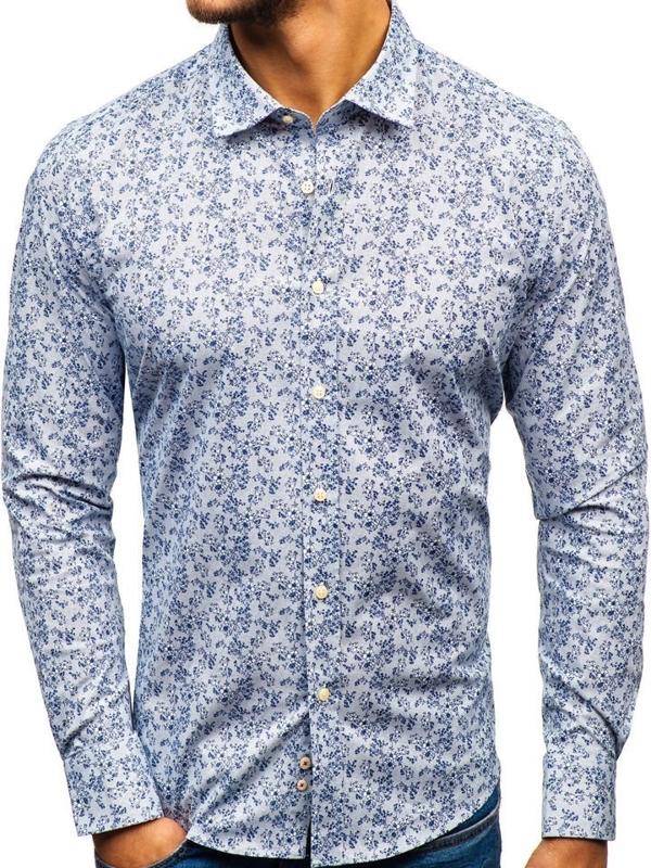 Koszula męska we wzory z długim rękawem biało-granatowa 301G58