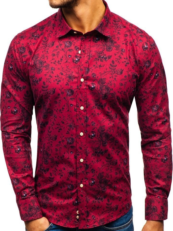 Koszula męska we wzory z długim rękawem czerwona 210G7