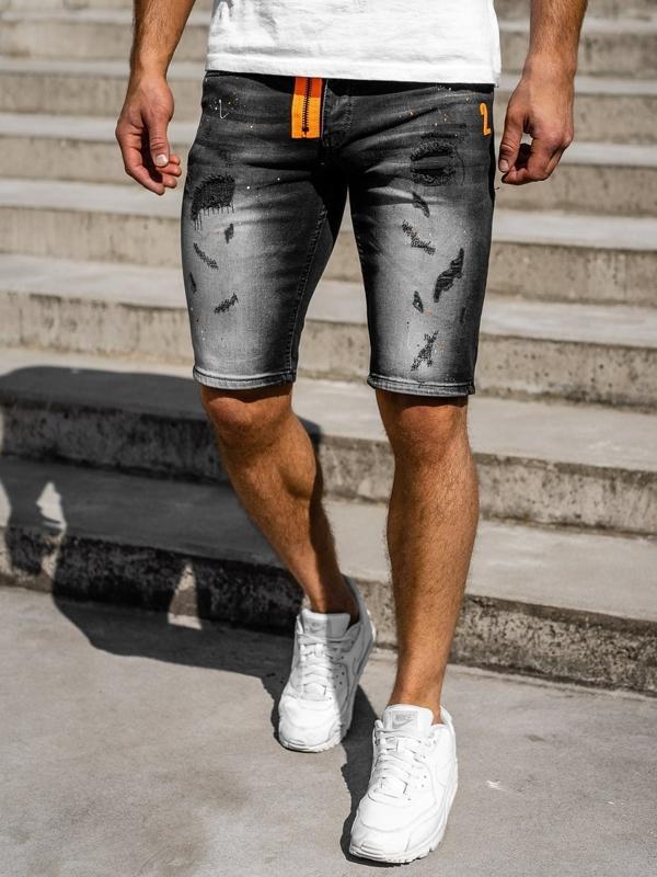 Krótkie spodenki jeansowe męskie czarne Denley 3002