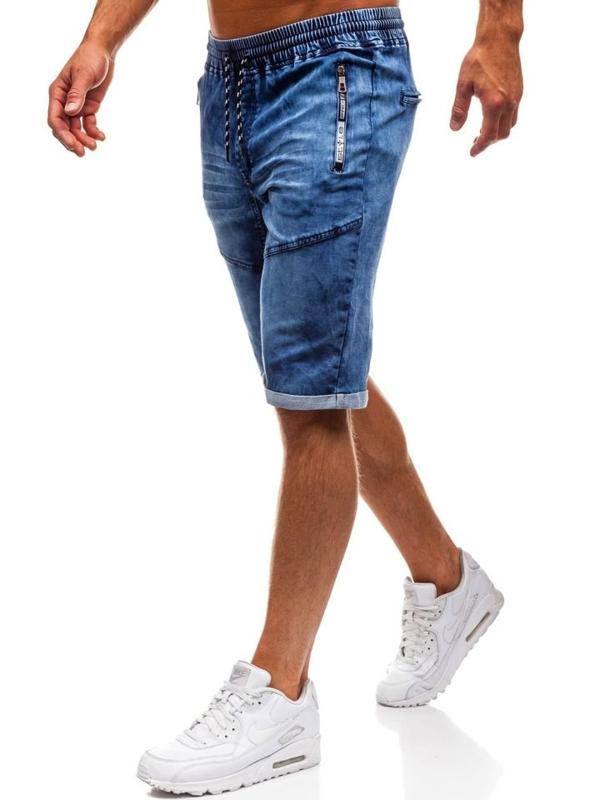 Krótkie spodenki jeansowe męskie granatowe Denley HY189