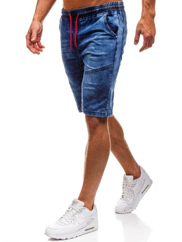 Krótkie spodenki jeansowe męskie granatowe Denley HY243