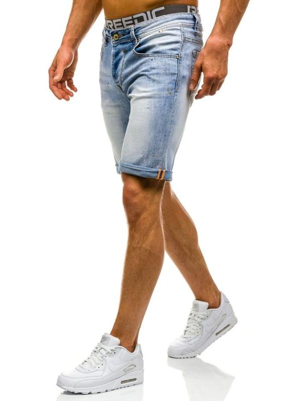 Krótkie spodenki jeansowe męskie jasnoniebieskie Denley 9584