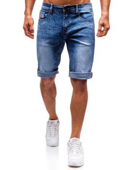 Krótkie spodenki jeansowe męskie niebieskie Denley 7807