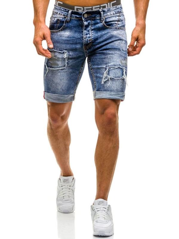Krótkie spodenki jeansowe męskie niebieskie Denley 9577