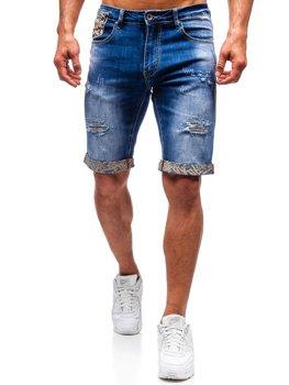 Krótkie spodenki jeansowe męskie niebieskie Denley T399
