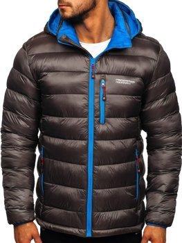Kurtka męska zimowa sportowa pikowana grafitowa Denley BK145
