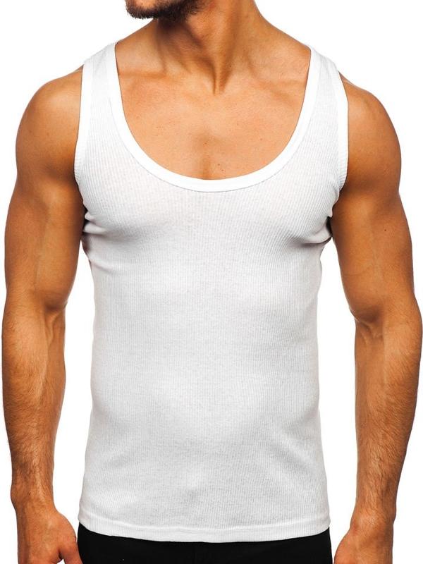 Podkoszulek męski bez nadruku biały Denley A58