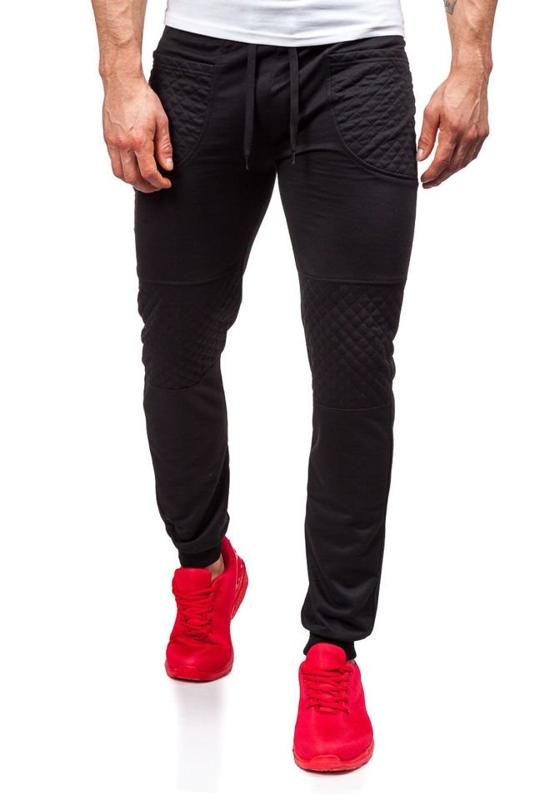 Spodnie dresowe męskie czarne Denley 6012