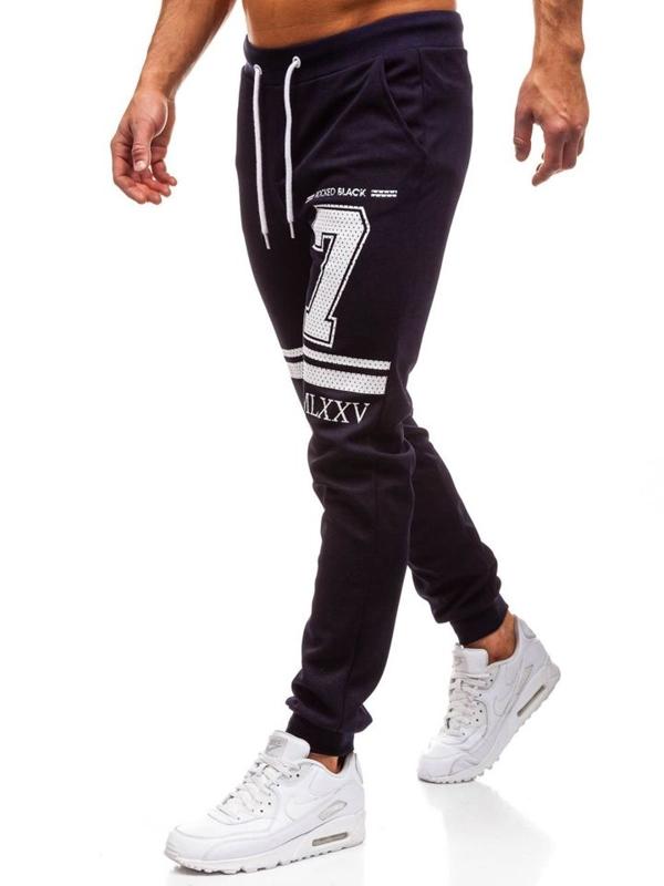 Spodnie dresowe męskie granatowe Denley 1078