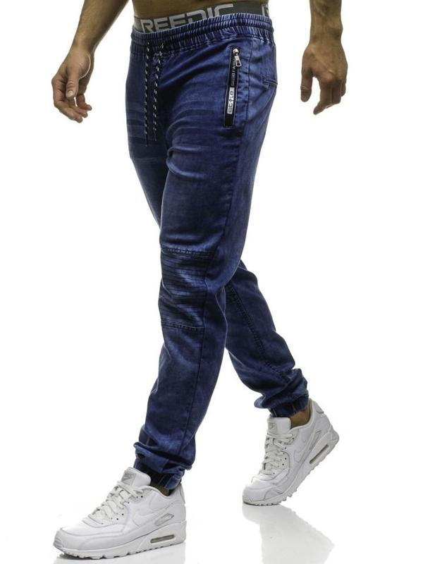 Spodnie jeansowe joggery męskie granatowe Denley HY182