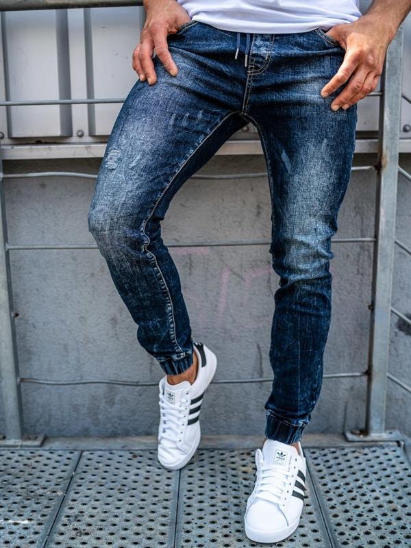 Spodnie jeansowe joggery męskie granatowe Denley KA606