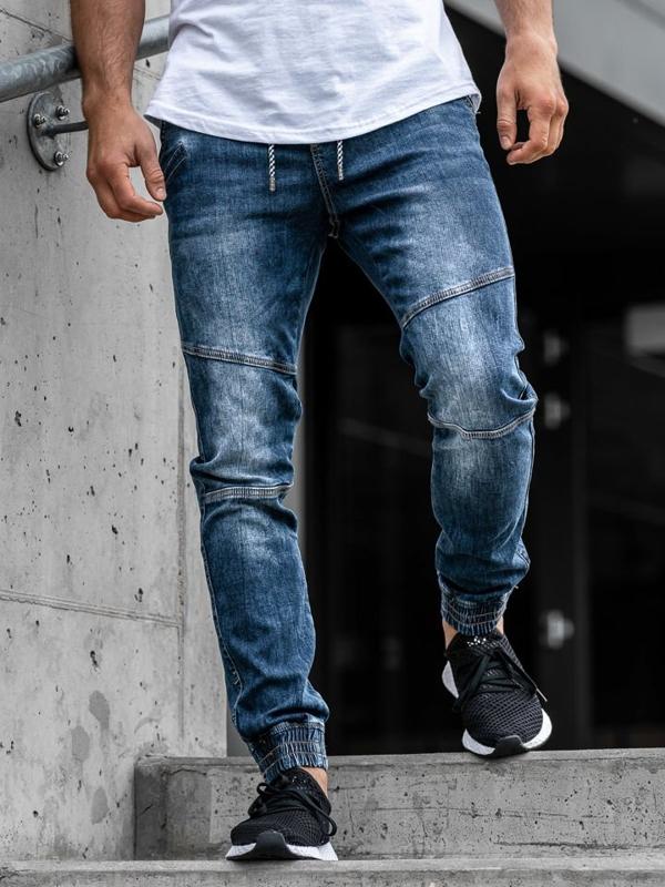Spodnie jeansowe joggery męskie granatowe Denley KA673