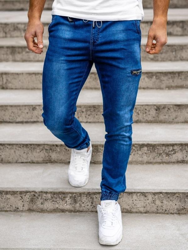 Spodnie jeansowe joggery męskie granatowe Denley  KA735