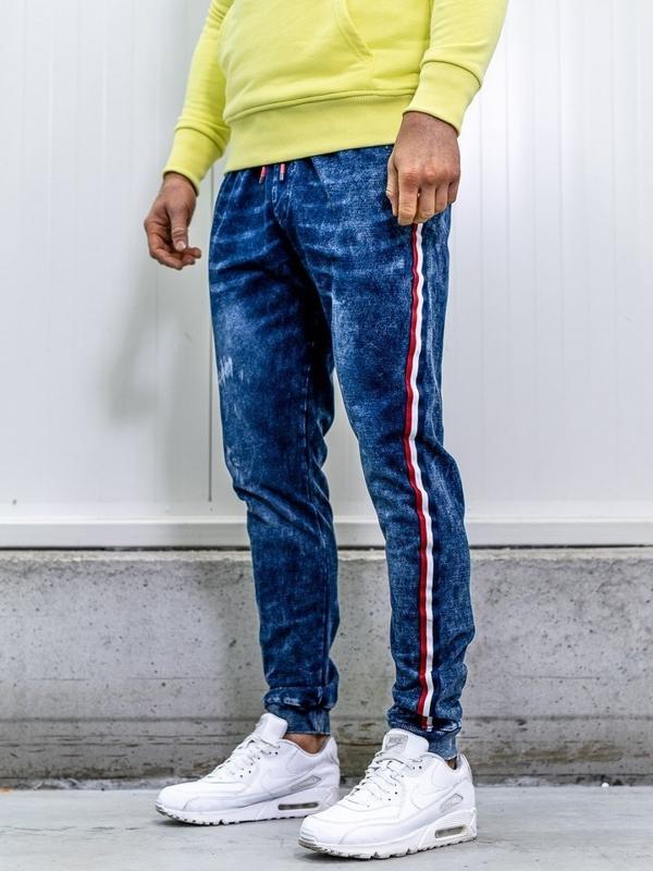 Spodnie jeansowe joggery męskie granatowe Denley KK1050