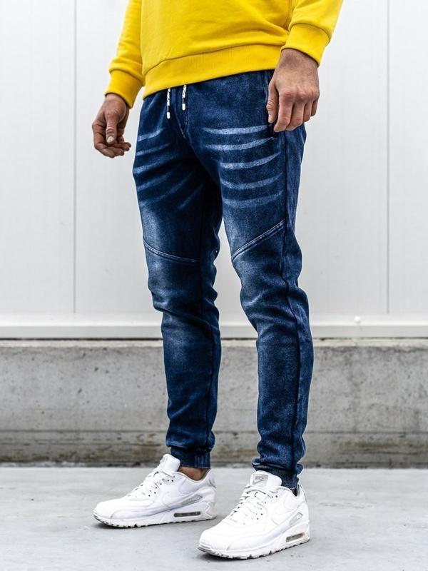Spodnie jeansowe joggery męskie granatowe Denley KK1056