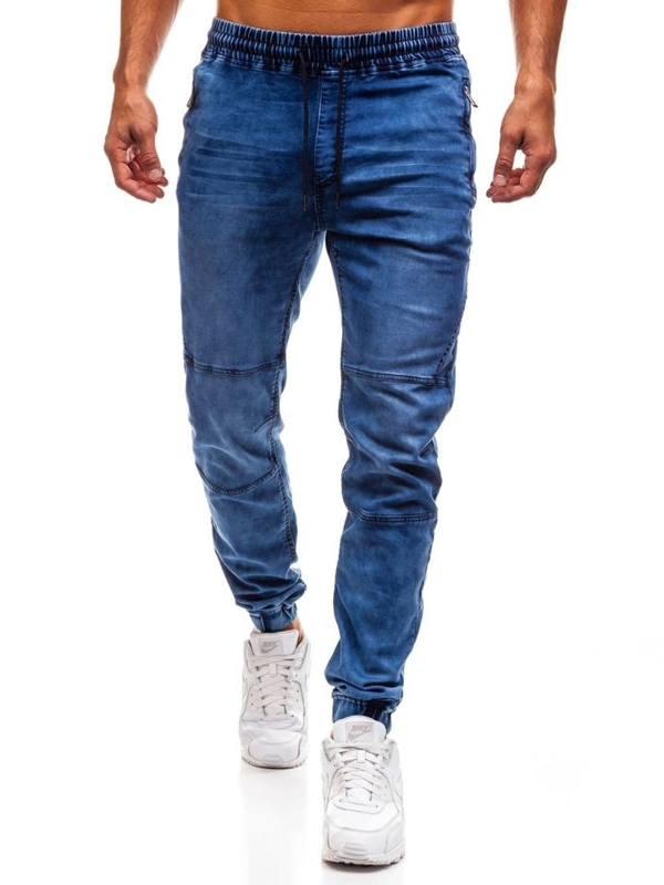 Spodnie jeansowe joggery męskie granatowe Denley Y232