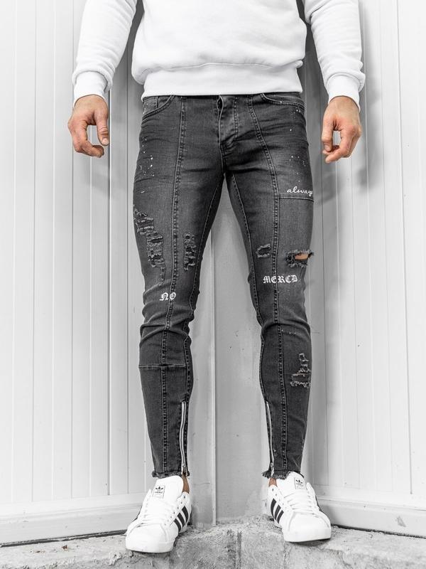 Spodnie jeansowe męskie czarne Denley 1085