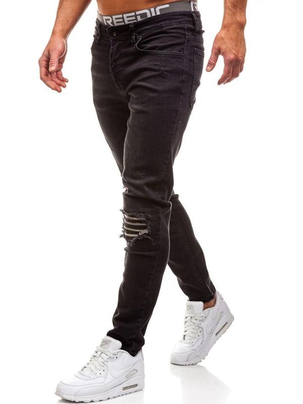 Spodnie jeansowe męskie czarne Denley AT002
