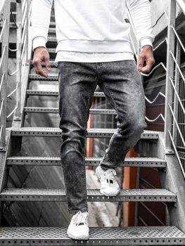 Spodnie jeansowe męskie czarne Denley KX190