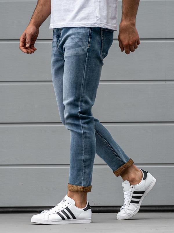 Spodnie jeansowe męskie granatowe Denley KX163