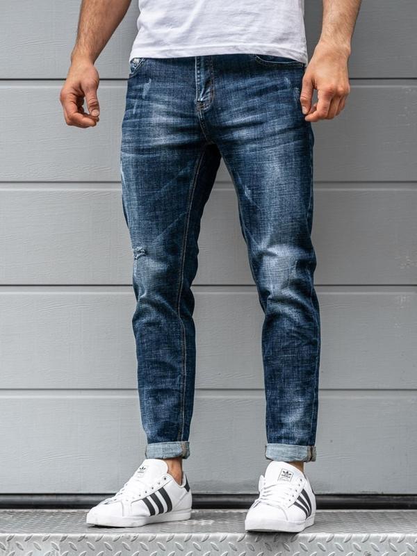 Spodnie jeansowe męskie granatowe Denley KX263