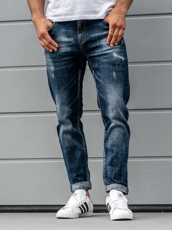 Spodnie jeansowe męskie granatowe Denley KX273