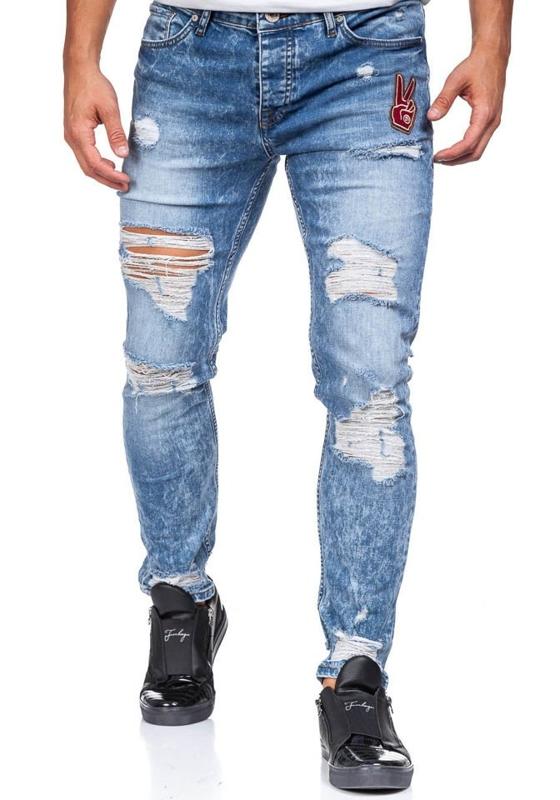 Spodnie jeansowe męskie niebieskie Denley 376