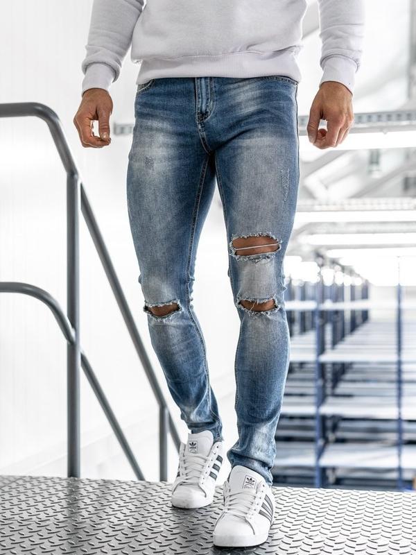 Spodnie jeansowe męskie niebieskie Denley 3943