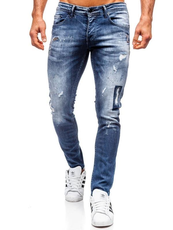 Spodnie jeansowe męskie regular fit granatowe Denley 4012