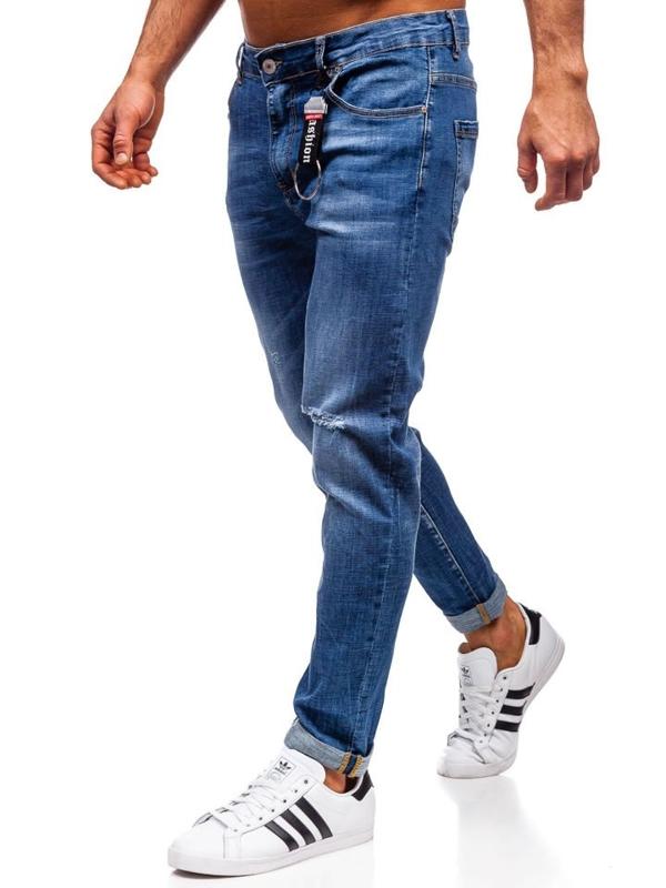 Spodnie jeansowe męskie regular fit granatowe Denley KX296