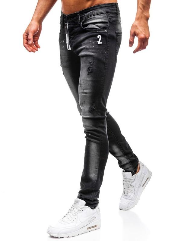 Spodnie jeansowe męskie skinny fit czarne Denley 9243