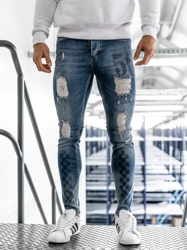 Spodnie jeansowe męskie skinny fit granatowe Denley 1062