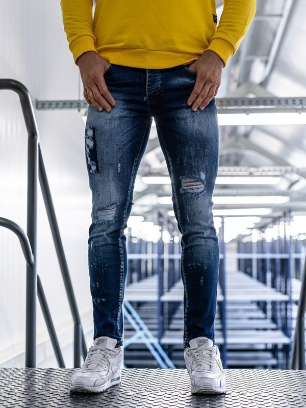 Spodnie jeansowe męskie skinny fit niebieskie Denley 1801