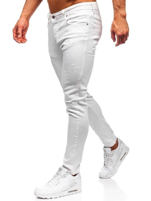 Spodnie jeansowe męskie slim fit białe Denley 55118