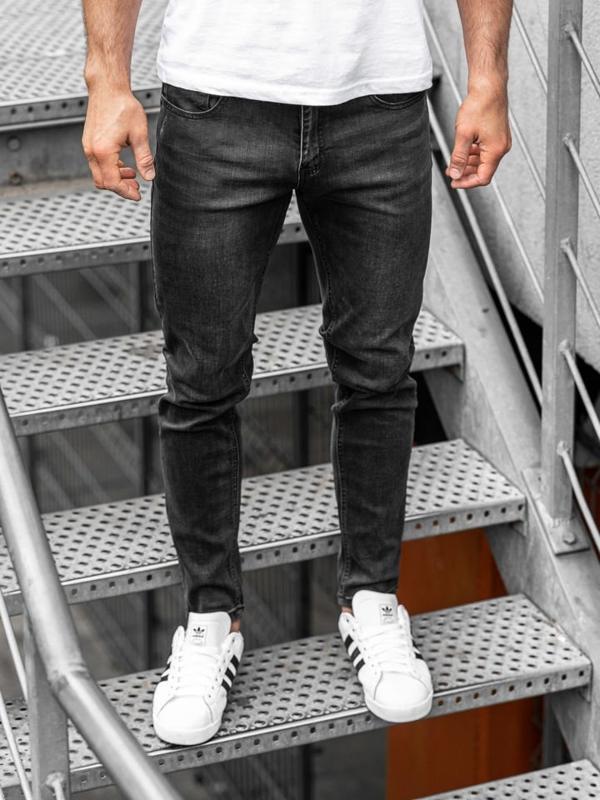 Spodnie jeansowe męskie slim fit czarne Denley KX238