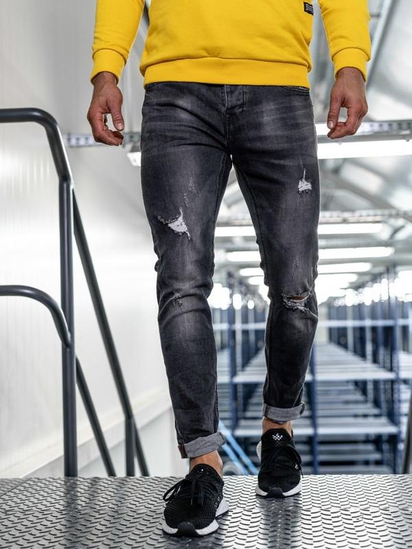 Spodnie jeansowe męskie slim fit czarne Denley KX313