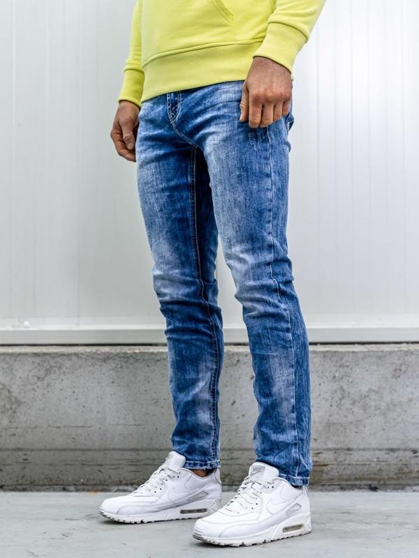 Spodnie jeansowe męskie straight leg granatowe Denley KA1581