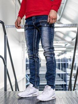 Spodnie jeansowe męskie straight leg granatowe Denley KA9915