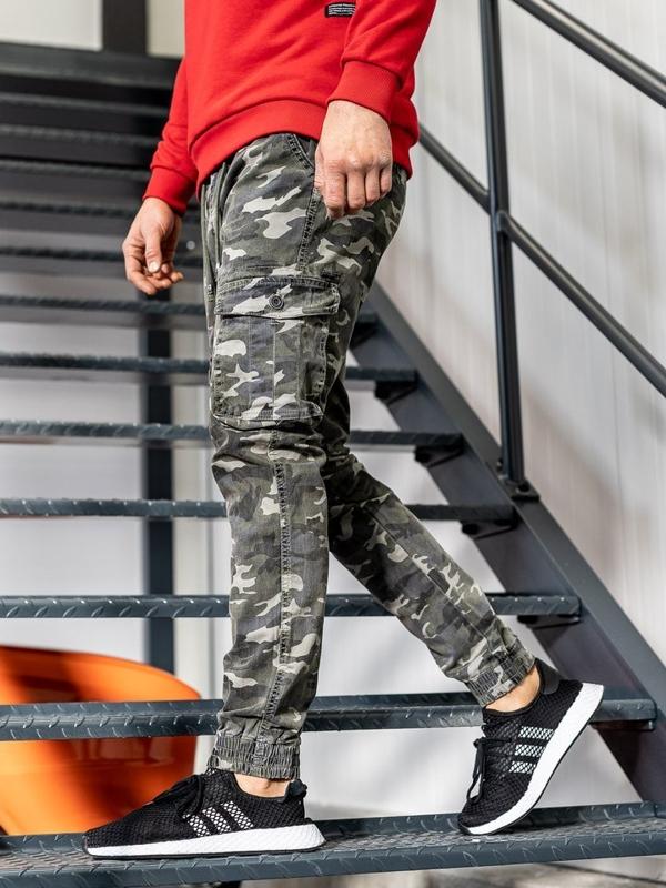 Spodnie joggery bojówki męskie moro-zielone Denley KA357