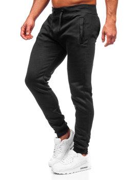 Spodnie męskie dresowe joggery czarne Denley XW01-A
